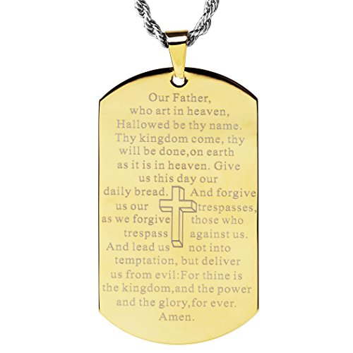 West Coast Jewelry Gold Plated Mirror Polished 'Lord's Prayer' Dog Tag Pendant Necklace - 24