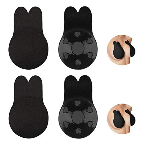 DoerDo 2 Pack Strapless Backless Bra Invisible Self Adhesive Lift Nipplecovers Push up Sticky Bras (Black, C/D Cup)