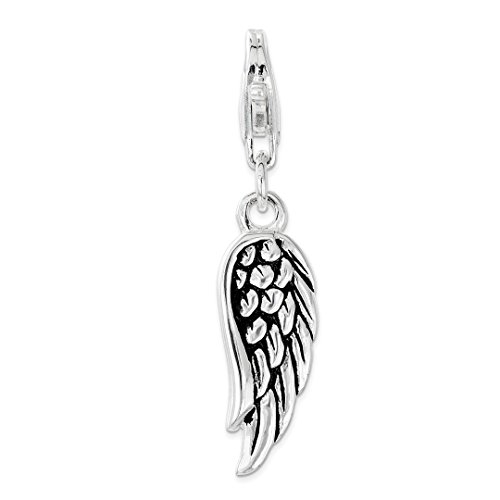 925 Sterling Silver Oxidized 3d Wing Lobster Clasp Pendant Charm Necklace Bird Fine Jewelry For Women Gift - Holder Jewlery Picture Frames