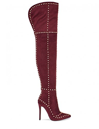 LAMODA Womens Stud Detail Thigh High Boots in Faux Suede Oxblood Qib2bEWX