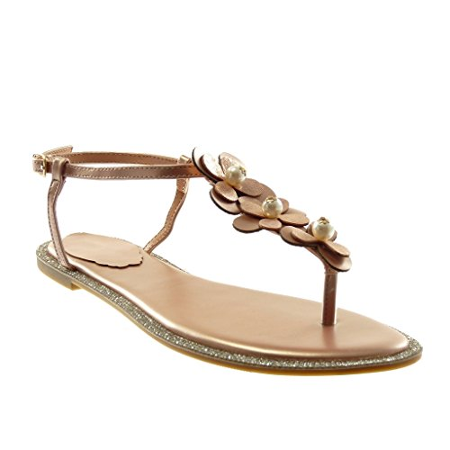 Angkorly Women's Fashion Shoes Sandals Flip-Flops - Ankle Strap - t-Bar - Flowers - Pearl - Strass Block Heel 1 cm Pink
