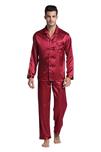 Tony & Candice Men's Classic Satin Pajama Set Sleepwear (X-Large, Burgundy)