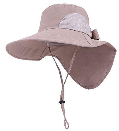 Womens Foldable Flap Cover UPF 50+ UV Protective Wide Brim Bucket Sun Hat Khaki