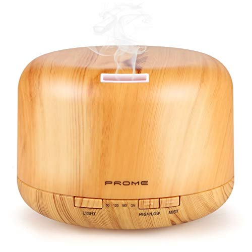 Prome 500ml Essential Oil Diffuser Wood Grain Ultrasonic Aromatherapy Oil Diffuser with Adjustable Mist Mode Waterless Auto Shut-Off Humidifier and 4 Timer Settings for Bedroom Office,14 Color Lights