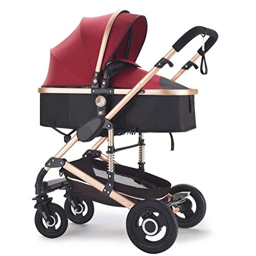 659874555 JFDKDH Strollers Baby Travel System Foldable Travel Buggy with Safe Five-Point Harness and Brake,Adjustable Backrest Pram Compact Baby Pushchair from Birth,Multicolor (Color : Red)