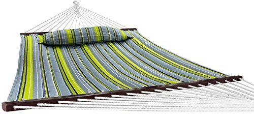 Sorbus Hammock with Spreader Bar, Detachable Pillow, Heavy Duty, 450 Pound Capacity, Perfect for Indoor/Outdoor Patio, Deck, Yard (Hammock Only, Green/Blue) -  - patio-furniture, patio, hammocks - 41p%2BgjTbL8L -