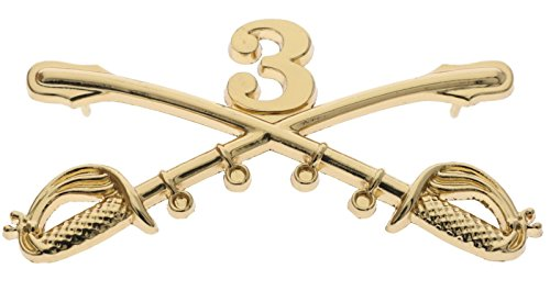 US Army 3rd Cavalry Crossed Sabres Gold Tone 2 1/4 inch Hat Pin JCH16092D149