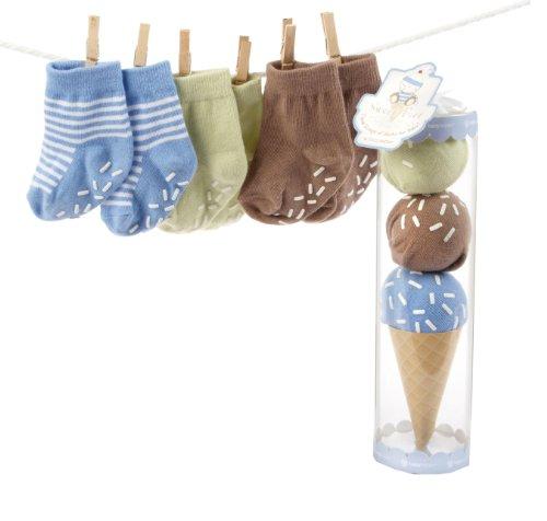 "Baby Aspen ""Sweet Feet"" Three Scoops of Socks Gift Set, Blue"