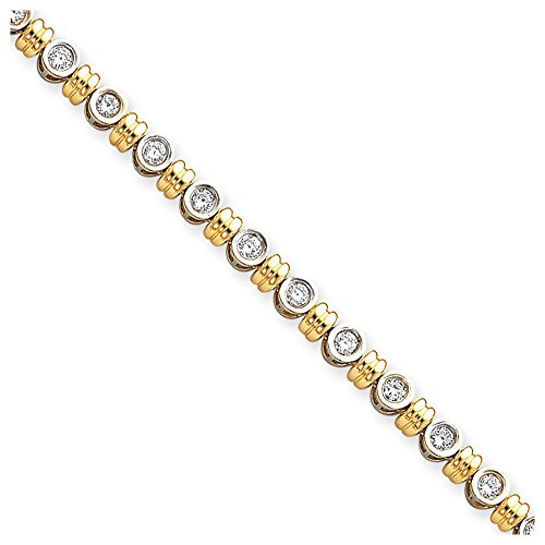 Jewelry Bracelet Mountings 14k Two-tone 3.5mm Diamond Tennis Bracelet - Two Mounting Gold Tone