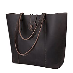 S-ZONE Vintage Women Genuine Leather Tote Bag Purse with Removable Pouch Upgraded Straps Version