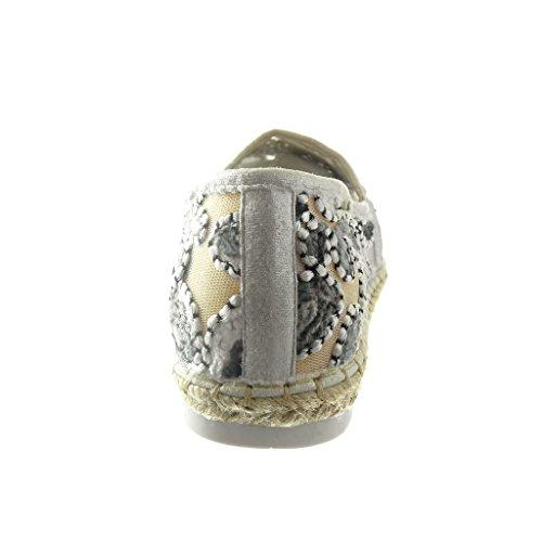Angkorly - Chaussure Mode Espadrille Mocassin femme fleurs corde Talon compensé 2 CM - Blanc