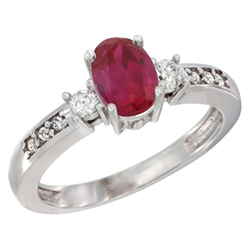 14K White Gold Diamond Enhanced Genuine Ruby Engagement Ring Oval 7x5 mm, size 7