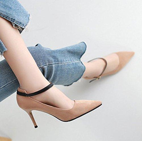 Ajunr Moda/elegante/Transpirable/Sandalias 8cm zapatos tacones altos Con una punta fina Toda la correspondencia Una hebilla los zapatos Albaricoque ,39 37