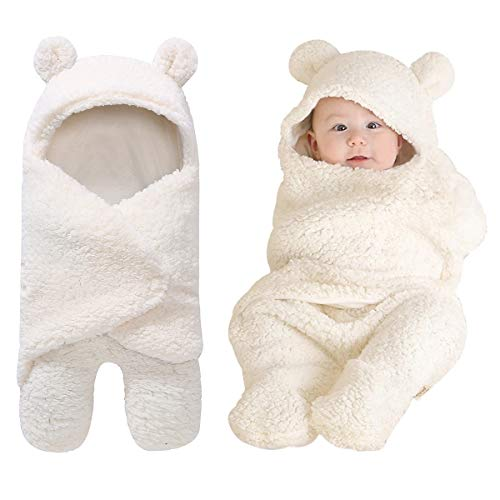 Baby Receiving Blanket, Hooded Cotton Plush Swaddle Blanket, Newborn Cute Sleeping Bag Sack Unisex Stroller Wrap for Baby Boys and Girls -