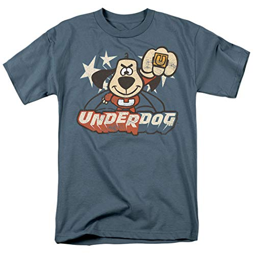 Popfunk Underdog Flying Logo Retro Cartoon T Shirt & Stickers (XXX-Large) (Cartoon T Shirt Men)