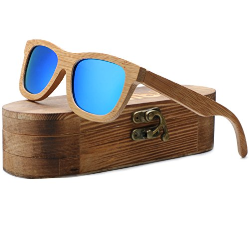 Ablibi Unisex Bamboo Wood Polarized Sunglasses in Gift Wood Box (Bamboo, Ice - Glasses Check Your Face On