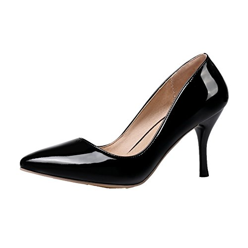 Allhqfashion Para Mujer Cerrado Con Punta En Pu Sólido Zapatos De Tacón Alto-zapatos Negro