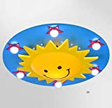 GAOLIQIN Children's Ceiling Lamp, Creative Sun Smiley Design Cartoon Eye Protection Ceiling Lights, Modern Minimalist Children's Room Master Bedroom LED Pendant Lamp (Color : Blue)