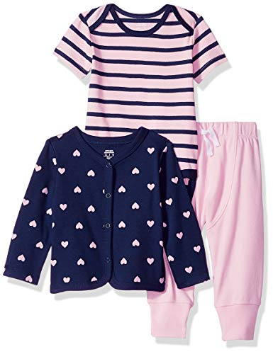 (Amazon Essentials Baby 3-Piece Cardigan Set, Girl Heart, Preemie)