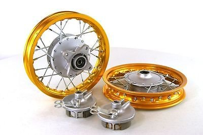 Piranha Gold Front & Rear Alum Wheels Rims 10'' 10 Inch Crf50 Xr50 Pit Bike Stock Drum