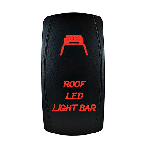 Illuminated Rated Red Rocker Switch (12V Laser Backlit RED Rocker Switch ROOF LED LIGHT BAR Bright Light Powersports [SLR1291BLPFBA])