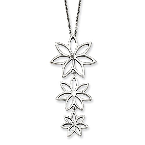ICE CARATS Stainless Steel Flowers Chain Necklace Pendant Charm Floral Fashion Jewelry Gifts For Women For Her (Swarovski Ice Flower)