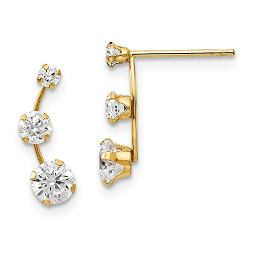 14k Yellow Gold Curved 3 Stone Cubic Zirconia Cz Post Stud Earrings Drop Dangle Fine Jewelry Gifts For Women For Her ()