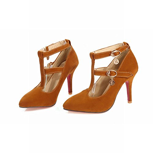 Latasa Womens Faux Suede T Strap Pointed Toe High Heels Dress Pumps Apricot xQ0SfTZB