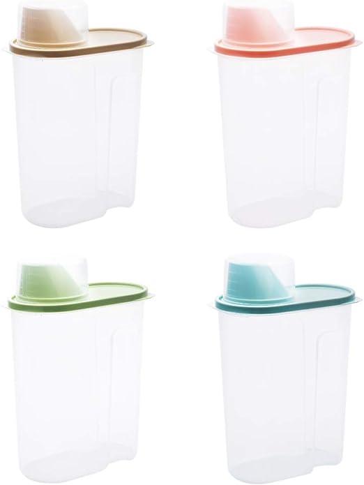 Hemoton 4 Piezas Caja de Plástico de Alimentos Contenedores con Tapa Hermética para Almacenar Harina Azúcar Cereales Nueces etc Color Aleatorio: Amazon.es: Hogar