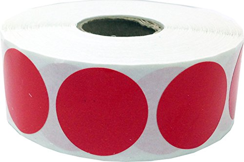 Red Color Coding Labels for Organizing Inventory 1 Inch Round Circle Dots 500 Total Adhesive Stickers On A Roll