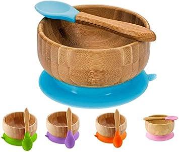 CHAWHO Bandeja Infantil Bowl adherente Set de Bowl adherente y cuchara para beb/é en combinaci/ón 1# BPA Free Bamb/ú natural