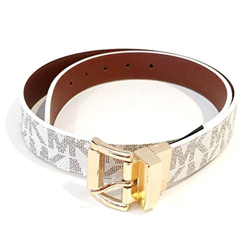 Michael Kors Monogram Belt and Gold Buckle Brown/White Reversible Medium ()