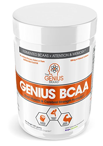 - Genius BCAA Powder – Nootropic Amino Acids & Muscle Recovery Drink | Natural Vegan Energy BCAAs for Women & Men (Pre, Intra & Post Workout) | Natural Brain Boost & Focus Supplement, Grape Limeade,287