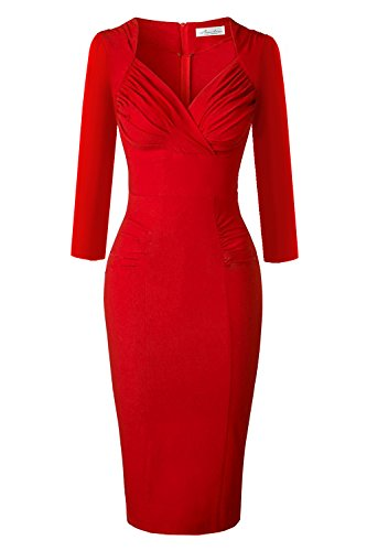 Newdow Lady's 50s Vintage V-Neck Capsleeve Pencil Dress (Large, Red 3/4 Sleeve) - Vintage Pencil Dress