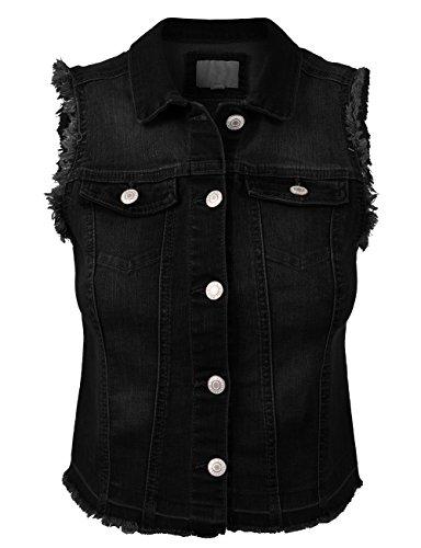 (BEKDO Womens Solid Low-high Raw Edge Denim Vest-L-Black)