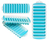 Iconikal Silicone-Bottom Stick Tube Ice Cube Tray Set 4-Pack, Light Blue