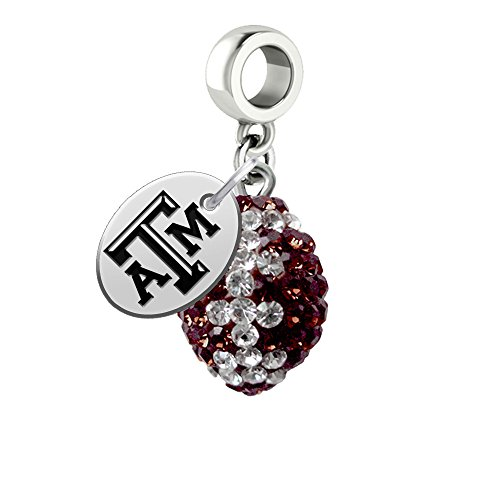 College Jewelry Texas A&M Aggies Crystal Football Drop Charm Fits All European Style Charm Bracelets