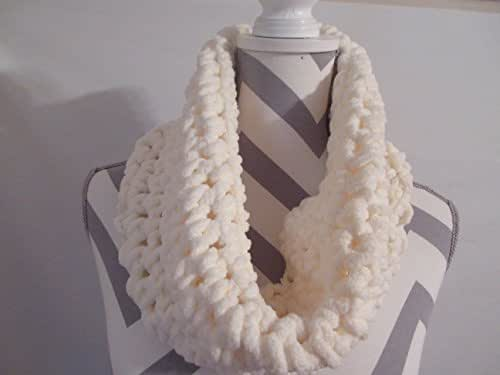 Handmade Cream Crocheted Cowl Scarf by Ladies Fashion Super Soft Bulky Infinity Cowl Lightweight Boho Design One Size Fits All Gift for Her Gift Bag and Ribbon Included