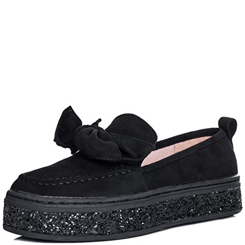 SPYLOVEBUY KAI Women's Glitter Platform Bow Flat Loafer Shoes Black Suede Style