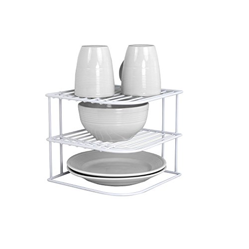 Sunbeam Kitchen Corner Counter and Cabinet Heavy Duty Wire Shelf in White (Corner Shelf Cabinet)