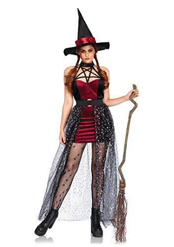 Leg Avenue Women's Sexy Witch Starry Halloween Costume, BURGUN/Blue, Sml/Med