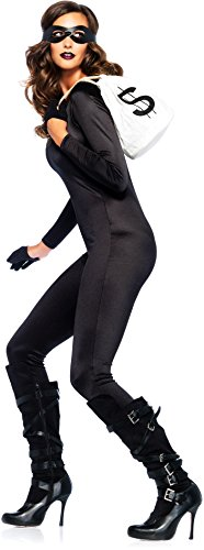 [Leg Avenue Women's 3 Piece Bandit Costume Kit, Black, One Size] (Robber Costumes)
