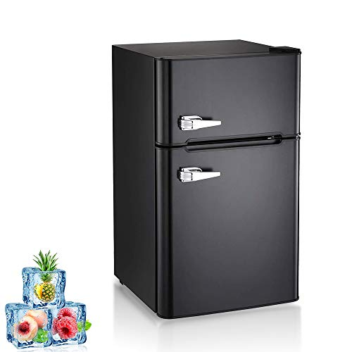 Kismile Double Door 3.2 Cu.ft Compact Refrigerator with Top Door Freezer,Freestanding mini Fridge with Adjustable Temperature,Upright Freezer for Apartment,Home,Office,Dorm or RV (Black, 3.2 Cu.ft)