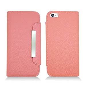 Route 66 Heavy Duty Premium Pink Leather Flip Cover Wallet Pouch w/ Card Holder for New Apple Iphone 5s (All Carriers)
