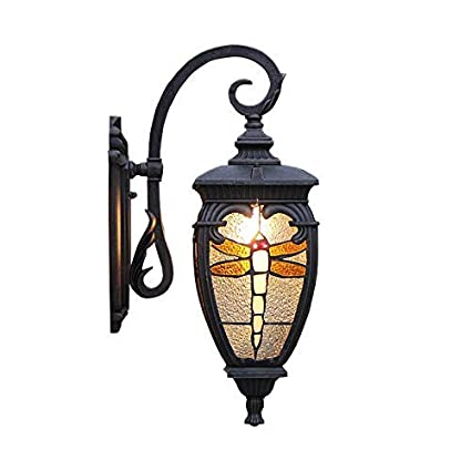 Amazon Com Zlhll Outdoor Wall Lamp Elegant Classical Stained Glass