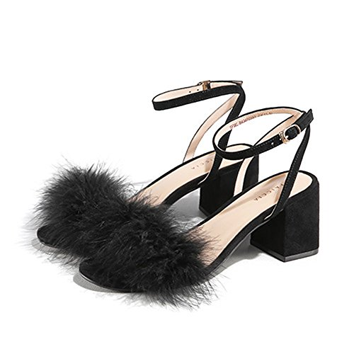 Sandals ZHIRONG Summer Open Toe Women's Shoes One-button Buckle Pure Color Comfortable (Color : A, Size : EU38/UK5.5/CN38) A