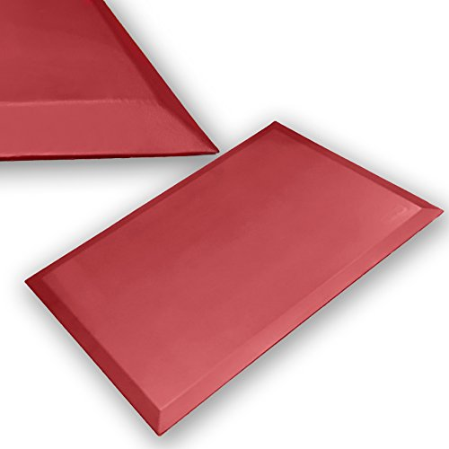 Commercial Grade - Super Soft - iPrimio 3/4 Anti Fatigue, Beveled Edge, Standing Mat, 36 in by 24 in (36x24). All Purpose. Newest Wine Red Color.
