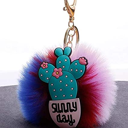Amazon.com: Rarido Cactus Women Colorful Fluffy Pompom ...