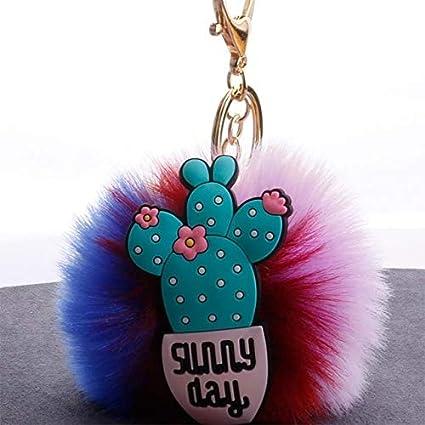 Amazon.com: Rarido Cactus Women Colorful Fluffy Pompom ...