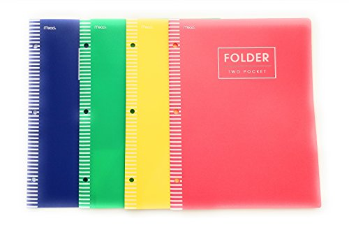 Mead 2 Pocket Poly Folder 4 Piece Bundle Blue Red Green Yellow